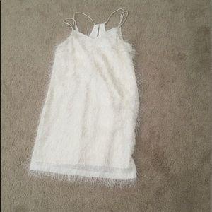Halston Polar bearesc fuzzy dress irredescent